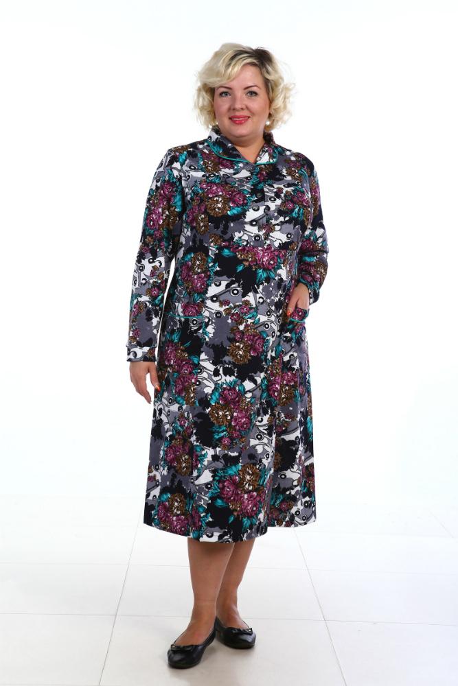 Платье с длинным рукавом МагнолияПлатья<br>Платье - это лучшая одежда для женщины, особенно в том случае, когда это - такое элегантное платье, как модель Магнолия, представленная в нашем каталоге женской одежды. <br>Данное платье сшито из качественной хлопковой ткани, кулирки, оно имеет длину ниже колен, длинные рукава, боковые карманы, отложной воротник с окантовкой и застегивается на пуговицы. Платье выполнено в нежной расцветке с цветочным мотивом, кроме того, в каталоге представлены четыре цветовых варианта.<br>Женское платье Магнолия хорошо подходит для повседневной носки, ведь оно позволяет телу дышать, а поэтому во время носки вы будете ощущать себя вполне комфортно.  Размер: 48<br><br>Принадлежность: Женская одежда<br>Основной материал: Кулирка<br>Страна - производитель ткани: Россия, г. Иваново<br>Вид товара: Одежда<br>Материал: Кулирка<br>Сезон: Лето<br>Состав: 80% хлопок, 20% полиэстер<br>Длина рукава: Длинный<br>Длина: 18<br>Ширина: 12<br>Высота: 7<br>Размер RU: 48