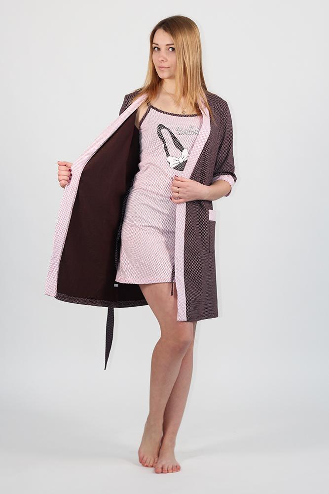 Комплект женский БалетНочные комплекты<br>Если вы хотите быть женственной всегда и везде, то оставайтесь такой даже дома. А поможет вам в этом домашний комплект Балет, представленный в нашем каталоге женской одежды. <br>Комплект имеет молодежный дизайн и выполнен в шоколадном и нежно-розовом оттенках, которые вместе создают гармоничный дуэт. Он состоит из ночной сорочки приталенного силуэта и халата с запахом. Сорочка украшена принтом в виде балеток и кантом, а халат имеет рукава средней длины, два кармана и также отделан кантом. <br>Женский комплект Балет имеет широкую размерную сетку, а приобрести его вы можете в режиме онлайн и с доставкой на дом. <br> <br>Длина изделия<br>52 размер: сорочка (без лямок) - 71 см; халат - 96 см. Размер: 46<br><br>Принадлежность: Женская одежда<br>Основной материал: Кулирка<br>Страна - производитель ткани: Россия, г. Иваново<br>Вид товара: Одежда<br>Материал: Кулирка<br>Длина: 25<br>Ширина: 17<br>Высота: 9<br>Размер RU: 46