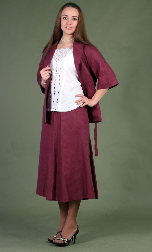 Жакет женский из льна ДанияЖакеты<br>Размер: 58<br><br>Принадлежность: Женская одежда<br>Основной материал: Лен<br>Страна - производитель ткани: Россия, г. Пучеж<br>Вид товара: Одежда<br>Материал: Лен<br>Тип застежки: Пуговицы<br>Длина рукава: Средний<br>Длина: 19<br>Ширина: 17<br>Высота: 9<br>Размер RU: 58