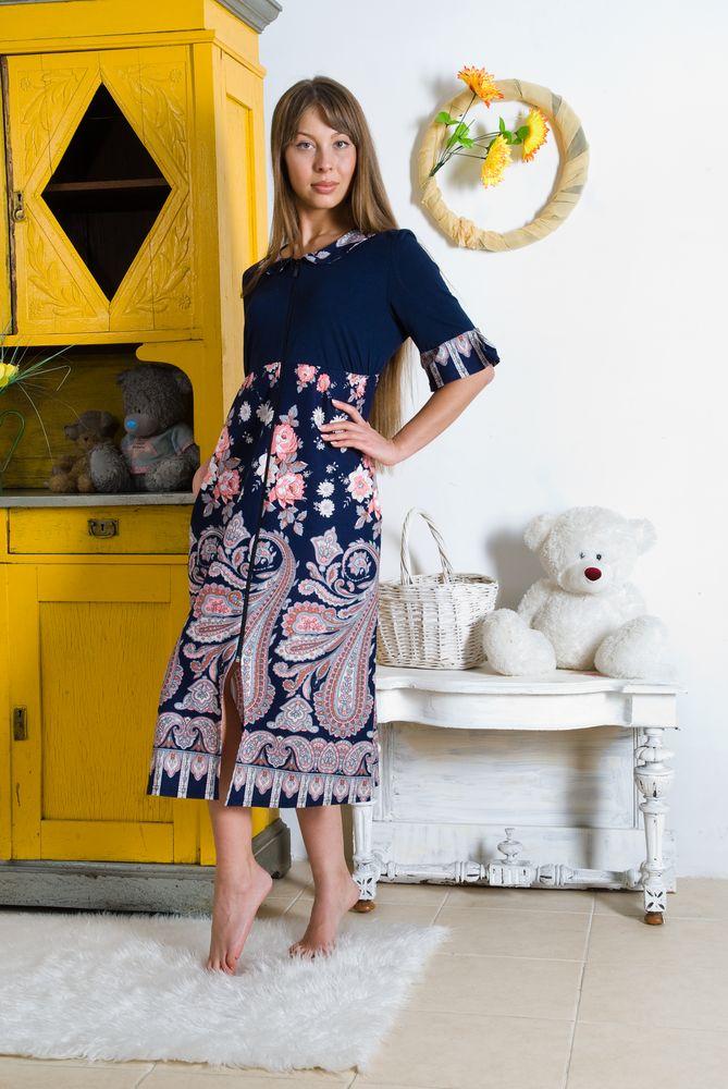 Халат женский МелисаЛегкие халаты<br>.Яркой и стильной может быть не только ваша повседневная одежда, но и даже та одежда, которую вы носите дома! Не верите - взгляните на модель Мелиса.   Данный халат, сшитый из чистого и натурального хлопкового материала (кулирки), имеет яркую расцветку, в которой использованы только самые насыщенные тона и оригинальные рисунки. Также халат отличается довольно интересным фасоном с удлиненной длиной и кулиской под линией груди.   В том, что женский домашний халат Мелиса полюбится вам с первого взгляда, не может быть и сомнений, ведь изделие с таким хорошим качеством и достойной ценой вы вряд ли где еще найдете! Размер: 50<br><br>Высота: 4<br>Размер RU: 50
