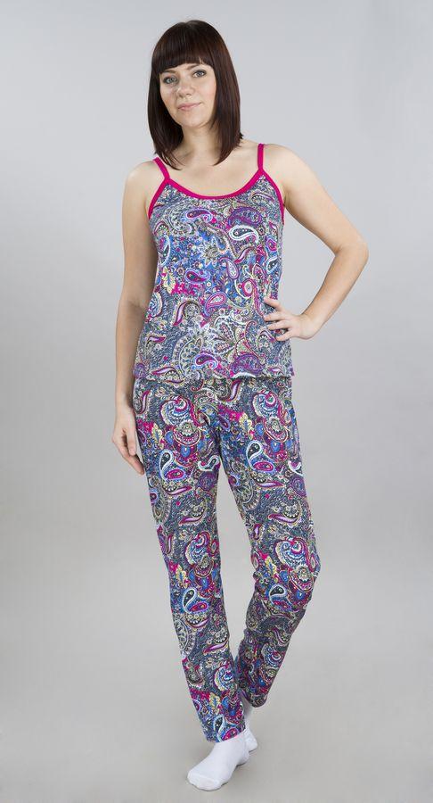 Костюм женский БелиндаЛетние костюмы<br>Костюм женский Белинда - удобный комплект для дома и отдыха, включающий топ и длинные брюки. Материал, из которого сшит костюм, легкий и практичный.<br>Кулирное полотно дарит коже комфорт и легкость. Цветочный принт делает костюм для женщин очень привлекательным. А гармоничный контраст цветов усиливает необычность цветовой гаммы. Сочетание различных оттенков и узоров сделает акцент на женском обаянии.<br>Женская трикотажная одежда из Иванова - это смелый дизайн, модные расцветки и качество от производителя, проверенное годами.<br>Размеры: 44-52 Размер: 52<br><br>Принадлежность: Женская одежда<br>Комплектация: Брюки, майка<br>Основной материал: Кулирка<br>Страна - производитель ткани: Россия, г. Иваново<br>Вид товара: Одежда<br>Материал: Кулирка<br>Сезон: Лето<br>Состав: 100% хлопок<br>Длина: 18<br>Ширина: 15<br>Высота: 7<br>Размер RU: 52