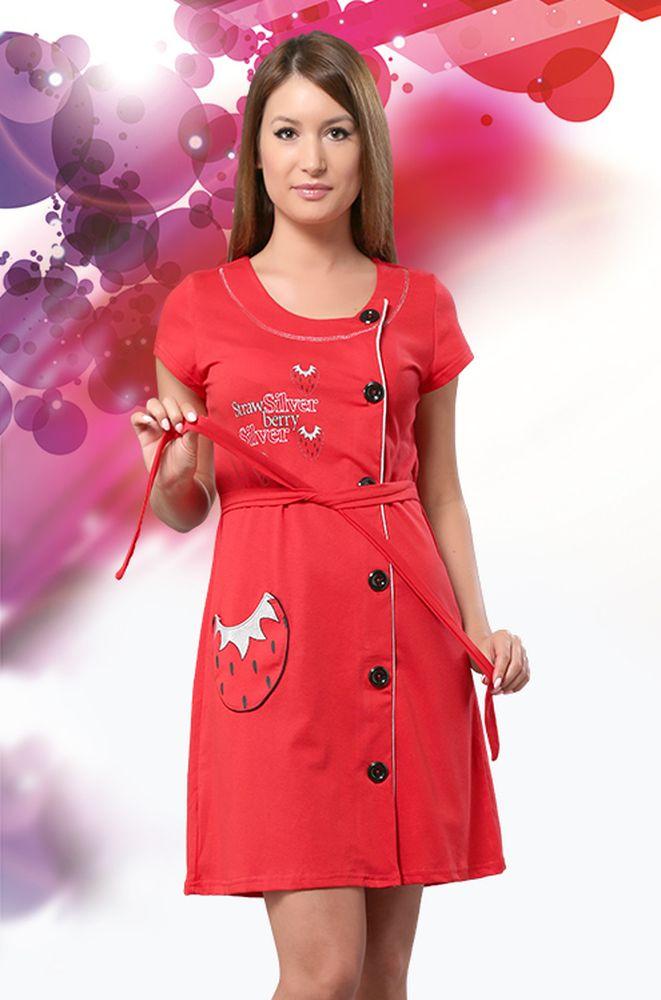 Халат женский Клубничка (кулирка)Легкие халаты<br>Любите окружать себя яркими, красивыми и практичными вещами? Тогда непременно обратите внимание на женский халат Клубничка из кулирки.<br>Оригинальный дизайн создают смещенные в сторону пуговицы и кокетливый карман-клубничка. Веселый принт и блестящая отделка хорошо гармонируют с насыщенным ягодным цветом. Приталенный силуэт позволяет чувствовать себя неотразимой. Основной материал - воздушная кулирка, которая хорошо вентилируется, обладает оптимальной гигроскопичностью и легко переносит регулярные стирки.<br>Легкий, удобный и молодежный женский халат Клубничка обязательно порадует модниц!<br> Размер: 46<br><br>Принадлежность: Женская одежда<br>Основной материал: Кулирка<br>Страна - производитель ткани: Россия, г. Иваново<br>Вид товара: Одежда<br>Материал: Кулирка<br>Сезон: Лето<br>Тип застежки: Пуговицы<br>Длина рукава: Короткий<br>Длина: 19<br>Ширина: 17<br>Высота: 9<br>Размер RU: 46
