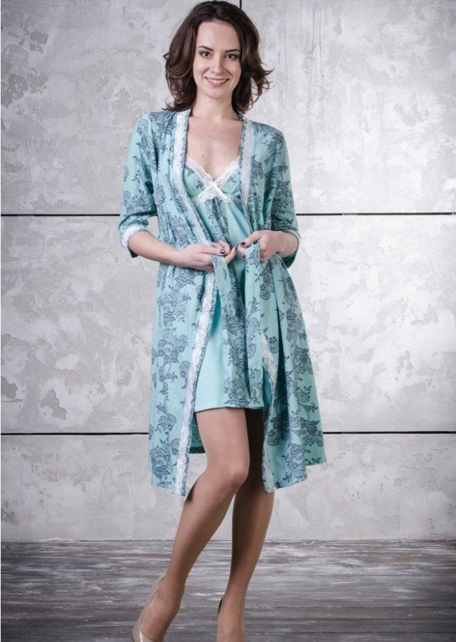 Комплект женский АишаНочные комплекты<br>Комплект женский для беременных и кормящих мамочек состоит из халата на запахе с поясом и ночной сорочки. Ночная сорочка специально выполнена для удобства кормления с отстегивающимися бретельками. Халат и ночная сорочка декорированы кружевом. Размер: 48<br><br>Принадлежность: Женская одежда<br>Основной материал: Кулирка<br>Вид товара: Одежда<br>Материал: Кулирка<br>Состав: 100% хлопок<br>Длина: 25<br>Ширина: 17<br>Высота: 9<br>Размер RU: 48