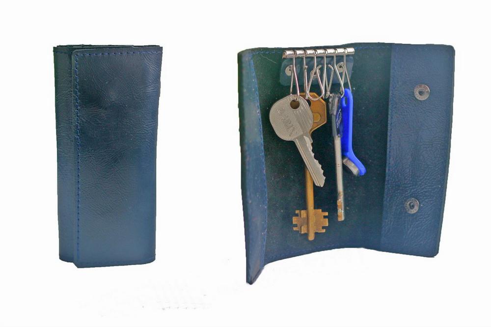 """Ключница кожаная """"Альмерия"""" 6 ключей (синяя)"""