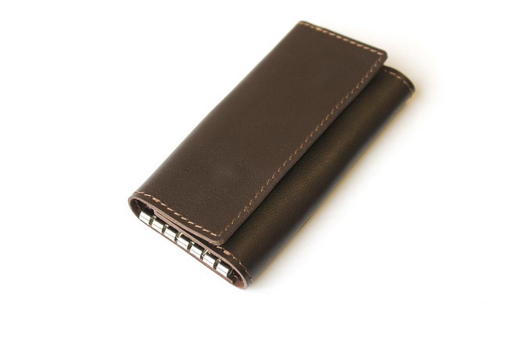"""Ключница кожаная """"Монако"""" 6 ключей (коричневая)"""
