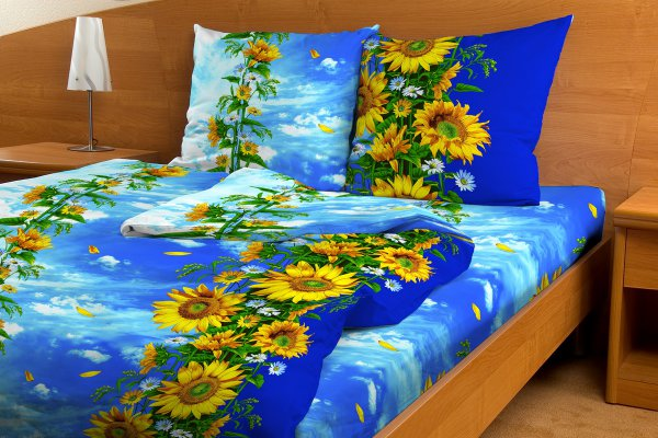"""Постельное белье """"Цветок солнца синий GS"""" (бязь) 1,5 спальный"""