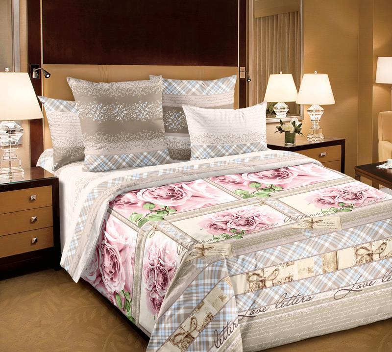 """Постельное белье """"Любовные письма розовый"""" (перкаль) 2 спальный от Grandstock"""