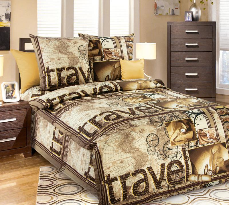 """Постельное белье """"Трэвел"""" (бязь) 1,5 спальный от Grandstock"""