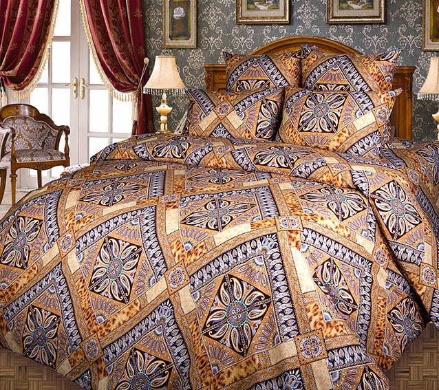Постельное белье Персия коричневый (бязь) 2 спальный с Евро простынёй