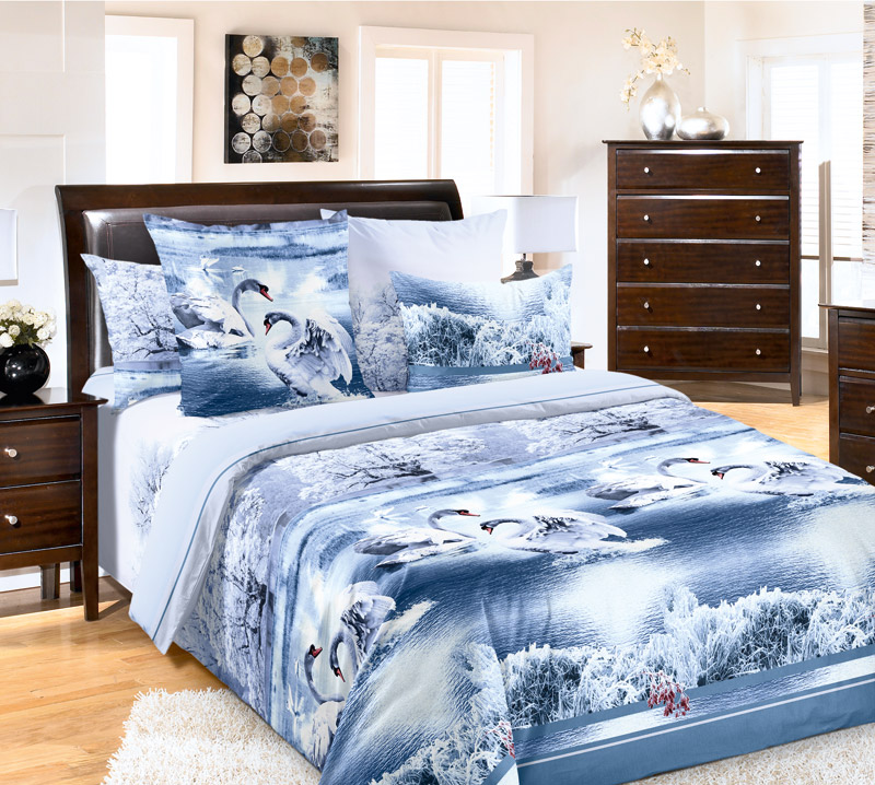 Постельное белье лебединое озеро голубое бязь кпб фото