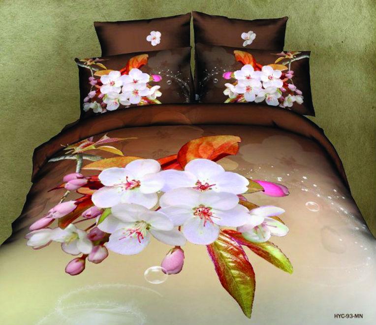 """Постельное белье """"Цветы 3D"""" (сатин) 1,5 спальный"""