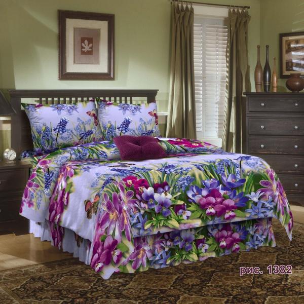 """Постельное белье """"Весенние цветы"""" 3D (бязь) 1,5 спальный"""