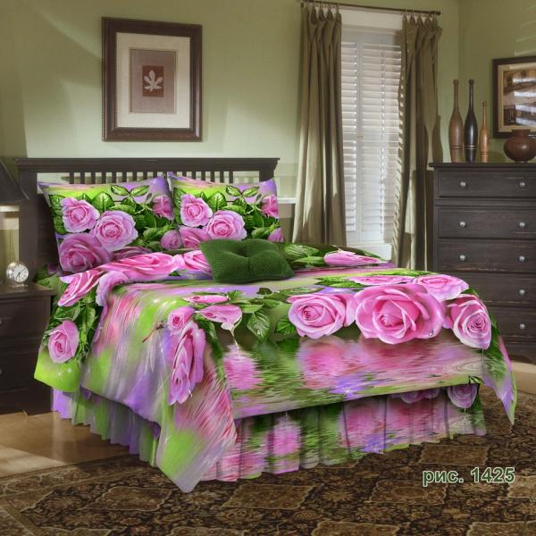 """Постельное белье """"Розы на воде"""" 3D (бязь) 1,5 спальный"""