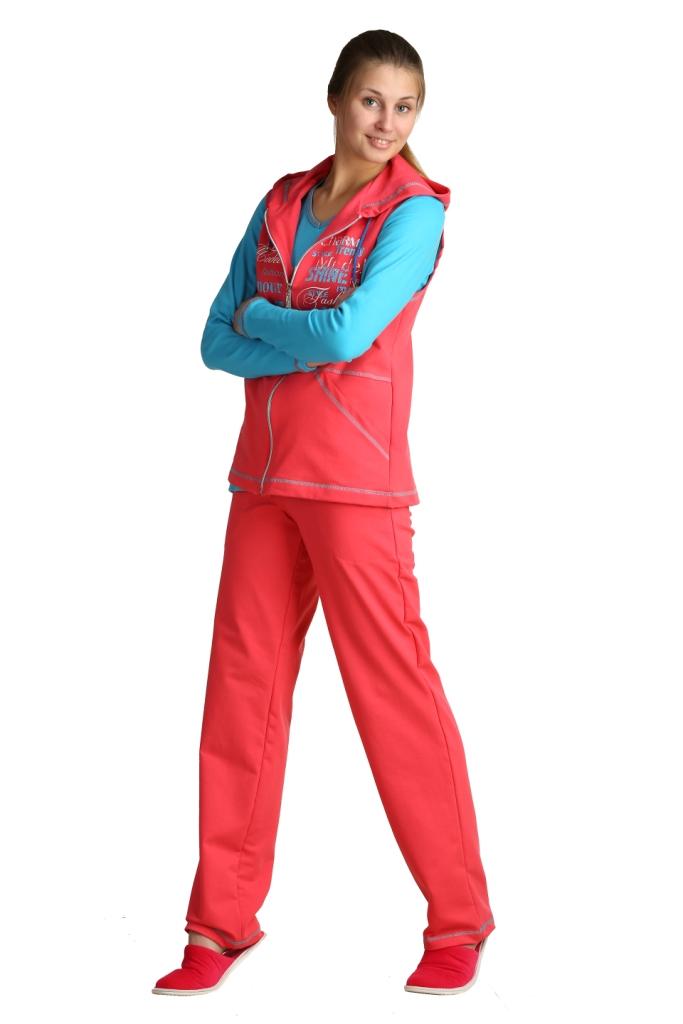 Костюм женский КовентинаЗимние костюмы<br>Любите яркие краски и позитивные эмоции? Для вас - женский костюм Ковентина, представленный в нескольких цветовых вариациях, одна краше другой.<br>Характерная фактура футера - находка для теплых, комфортных, уютных вещей. Прочная и плотная ткань облает отличными гигиеническими показателями. Добавление полиэстера улучшает прочностные характеристики, износостойкость. Лайкра в составе обеспечивает эластичность и восстановление формы. Костюм Ковентина аккуратно и хорошо сядет по фигуре.<br>В наличии - большой выбор размеров для обладательниц разных фигур. Простой крой костюма Ковентина отлично смотрится на всех, позволяя не сомневаться в своей привлекательности. <br>Длина футболки по спинке:44 размер 67см46 размер 67,5см48 размер 68см50 размер 68,5см52 размер 69см54 размер 69,5см56 размер 70см58 размер 70,5см<br>Длина жилета по спинке:44-50 размеры 67см52-58 размеры 72см<br>Длина брюк по боковому шву:44 размер 109см46 размер 110см48 размер 111см50 размер 112см52 размер 113см54 размер 114см56 размер 115см58 размер 116см<br>  Размер: 50<br><br>Принадлежность: Женская одежда<br>Комплектация: Брюки, футболка, жилет<br>Основной материал: Футер<br>Страна - производитель ткани: Россия, г. Иваново<br>Вид товара: Одежда<br>Материал: Футер с лайкрой<br>Сезон: Весна - осень<br>Тип застежки: Молния<br>Состав: 72% хлопок , 20% полиэстер, 8% лайкра<br>Длина рукава: Длинный<br>Длина: 30<br>Ширина: 20<br>Высота: 11<br>Размер RU: 50