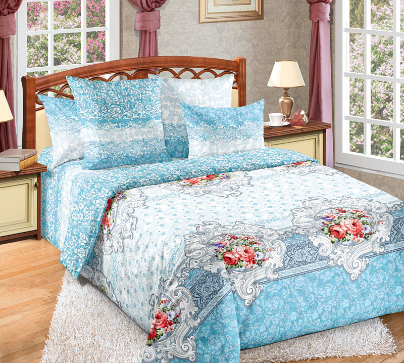Постельное белье Патриция голубой (перкаль) 2 спальныйПеркаль<br>Размер: 2 спальный<br><br>Высота: 9<br>Размер RU: 2 спальный