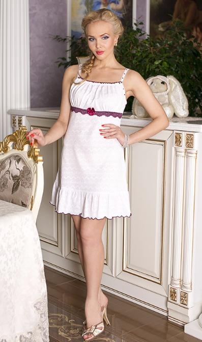 Ночная сорочка АнгелСорочки и ночные рубашки<br>Сорочка молодежная, на тонких брителях со стразами, с кружевом под грудью.  Размер: 44<br><br>Высота: 7<br>Размер RU: 44