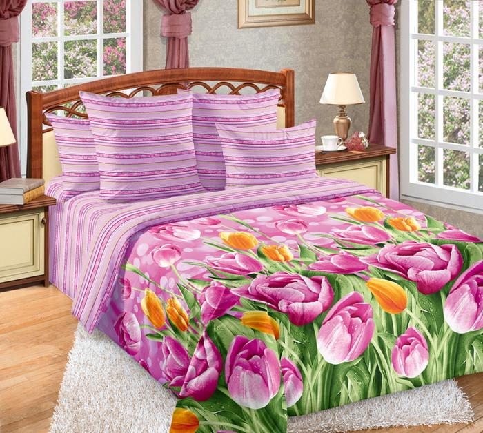 Постельное белье Тюльпаны розовый (перкаль) 2 спальныйПеркаль<br>Размер: 2 спальный<br><br>Принадлежность: Для дома<br>Плотность КПБ: 115 гр/кв.м<br>Категория КПБ: Цветы и растения<br>По назначению: Повседневные<br>Рисунок наволочек: Расположение элементов расцветки может не совпадать с рисунком на картинке<br>Основной материал: Перкаль<br>Вид товара: КПБ<br>Материал: Перкаль<br>Сезон: Круглогодичный<br>Плотность: 115 г/кв. м.<br>Состав: 100% хлопок<br>Комплектация КПБ: Пододеяльник, простыня, наволочка<br>Длина: 37<br>Ширина: 28<br>Высота: 9<br>Размер RU: 2 спальный
