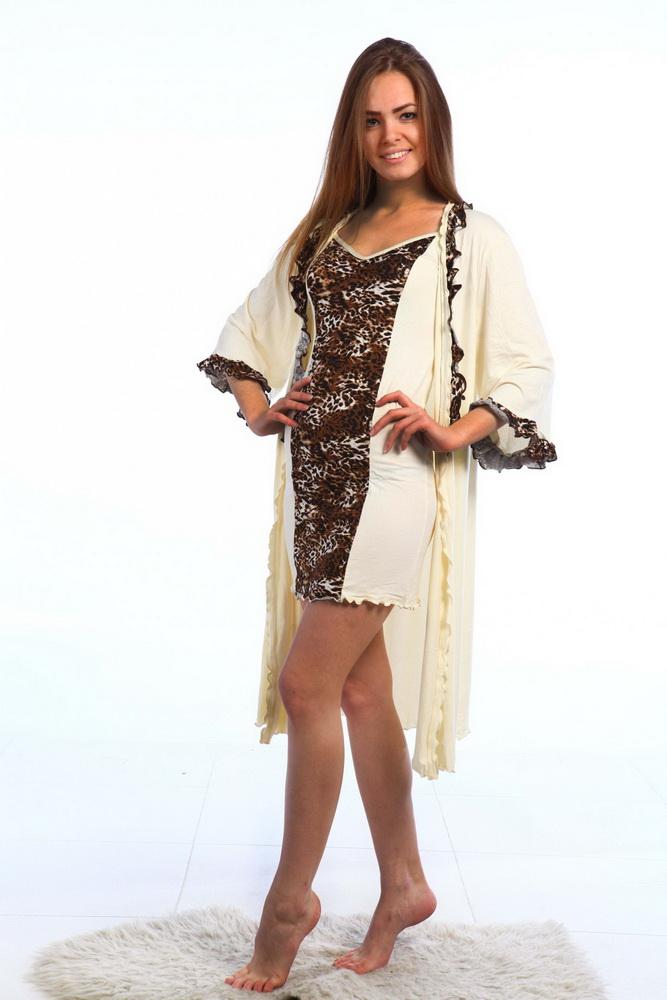 Комплект женский КристиНочные комплекты<br>Комплект состоит из сорочки и пеньюара, выполненных в сочетании однотонной ткани и ткани с рисунком. Пеньюар с поясом.  Длина сорочки 78-84 см, длина пеньюара 106-110 см. Материал - вискоза. Состав: вискоза 100%. Размер: 42<br><br>Принадлежность: Женская одежда<br>Основной материал: Вискоза<br>Вид товара: Одежда<br>Материал: Вискоза<br>Состав: 100% вискоза<br>Длина: 25<br>Ширина: 17<br>Высота: 9<br>Размер RU: 42