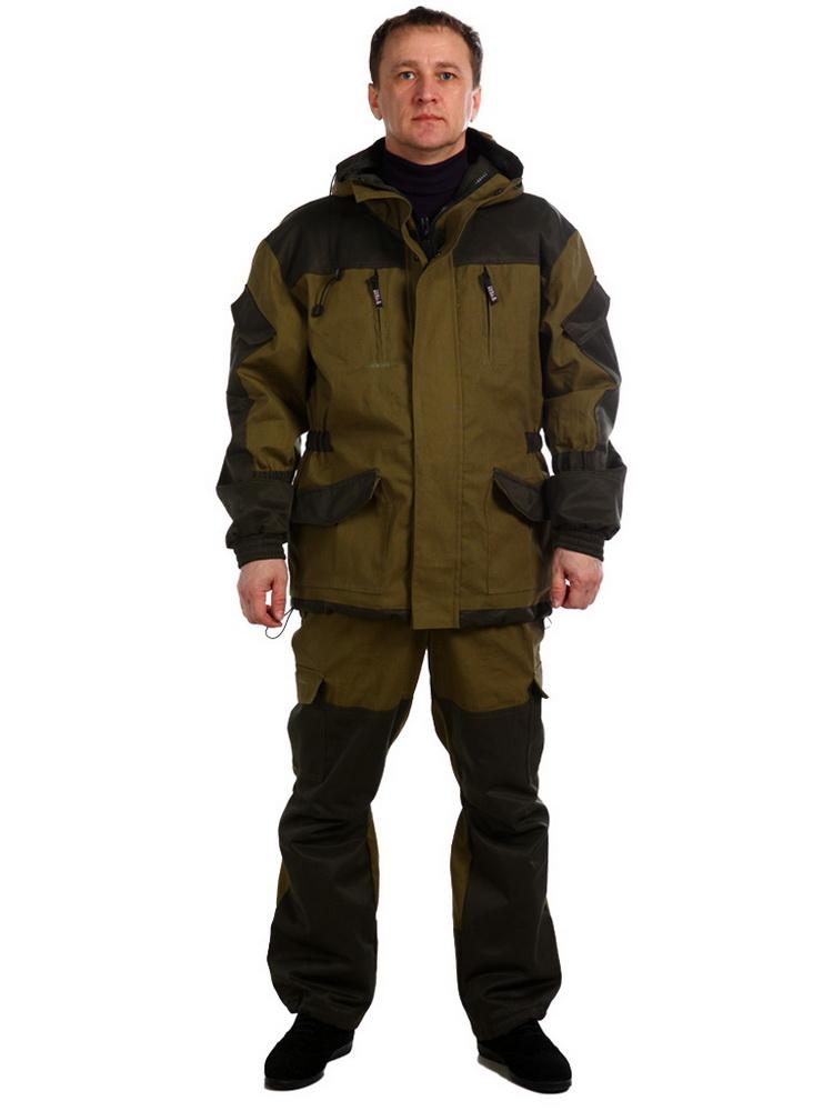 Костюм ШтормДля прочих профессий<br>Костюм Шторм состоит из куртки и брюк. Куртка прямого силуэта, удлиненная, с подкладкой из трикотажной сетки, с застёжкой на молнию, с двумя ветрозащитными планками и капюшоном с регулировкой. Полочки с кокетками, с верхними прорезными карманами в рамке с молниями,  два накладных кармана. Спинка цельнокроеная с кокеткой. Сбоку, по линии талии, утяжка эластичной лентой. Рукава втачные, с усилителями внизу рукава и локтевой части, с накладными карманами с клапаном. Манжеты притачные на резинке. Низ куртки с утягивающим шнурком.<br>Брюки анатомического кроя, с широким притачным поясом на резинке, с отстегивающимися регулируемыми подтяжками. На брюках  два боковых  и два объемных кармана. <br>Костюм изготовлен из ткани палатка, усиление - ткань грета, подкладка - сетка трикотажная. Размер: 44-46<br><br>Принадлежность: Мужская одежда<br>Основной материал: Палатка<br>Страна - производитель ткани: Россия, г. Иваново<br>Вид товара: Одежда<br>Материал: Палатка<br>Сезон: Весна - осень<br>Тип застежки: Молния<br>Длина рукава: Длинный<br>Длина: 35<br>Ширина: 25<br>Высота: 14<br>Размер RU: 44-46