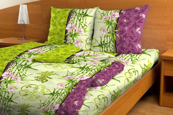 """Постельное белье """"Восточный бамбук зеленый GS"""" (бязь) 1,5 спальный"""