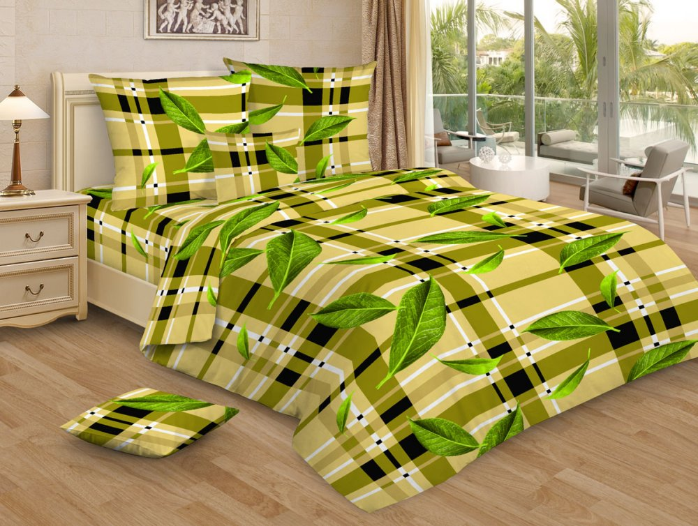 """Постельное белье """"Чайная церемония зеленая GS"""" (бязь) 1,5 спальный"""