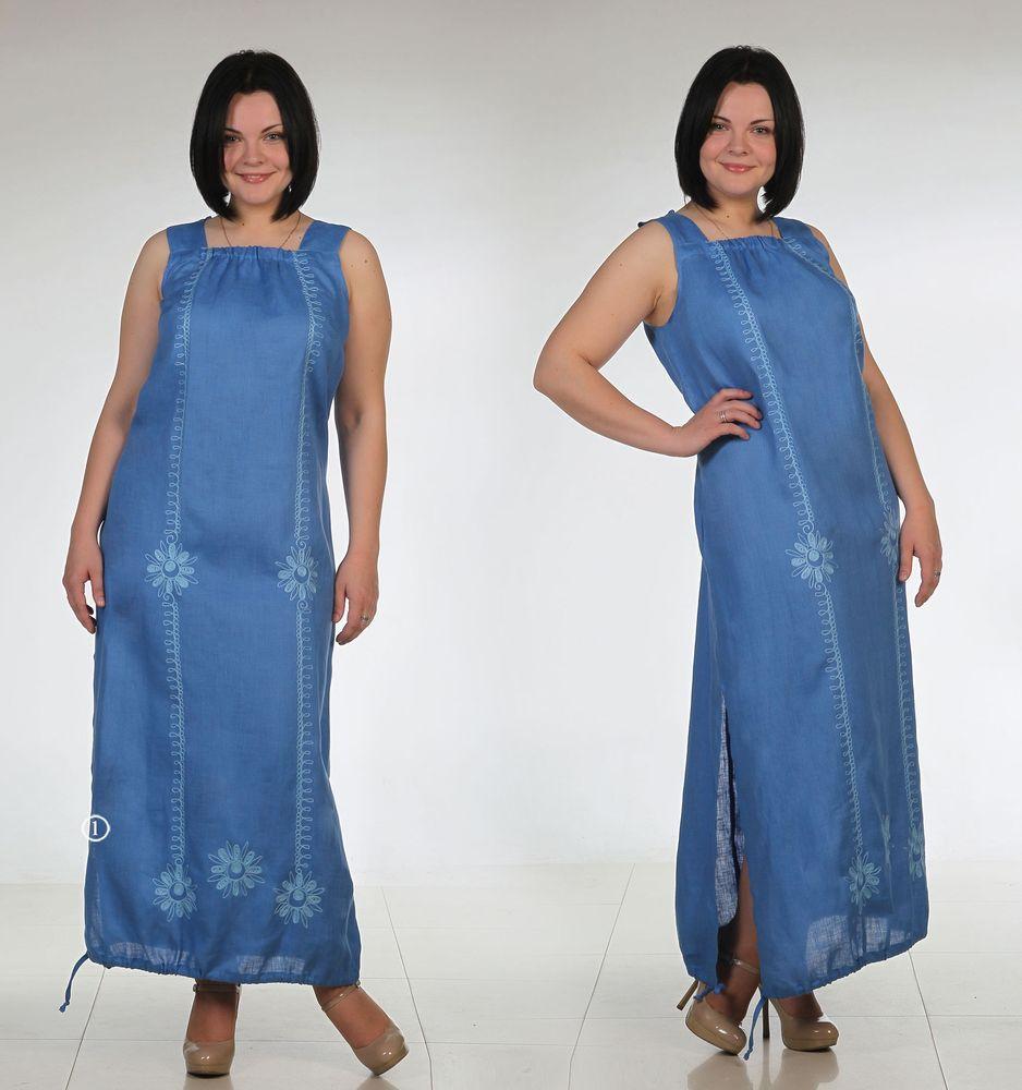 Льняной сарафан с вышивкой модель ЭлеонораСарафаны<br>Хотите быть самой яркой этим летом? Притягивать взгляды и очаровывать всех и каждого? Тогда, пожалуй, вам стоит взглянуть на женский льняной сарафан Элеонора, представленный в нашем каталоге одежды из льна.<br>Как уже было замечено выше, данный сарафан выполнен из натуральной льняной ткани, которая является далеко не единственной особенностью этого изделия. Сарафан впечатлит вас яркими и при этом натуральными расцветками, который отлчино смотрятся в жаркий летний сезон. Сарафан имеет максимальную длину, а снизу чуть присобран. Изящный элемент дизайна &amp;amp;mdash; вышивка по всей длине изделия и два боковых разреза.<br>В женском сарафане Элеонора вы будете чувствовать себя великолепно, даже если Вам предстоит носить его целый день. При этом модель отличается сравнительно невысокой для льняных изделий ценой! Размер: 48<br><br>Принадлежность: Женская одежда<br>Основной материал: Лен<br>Страна - производитель ткани: Россия, г. Пучеж<br>Вид товара: Одежда<br>Материал: Лен<br>Длина рукава: Без рукава<br>Длина: 18<br>Ширина: 12<br>Высота: 7<br>Размер RU: 48