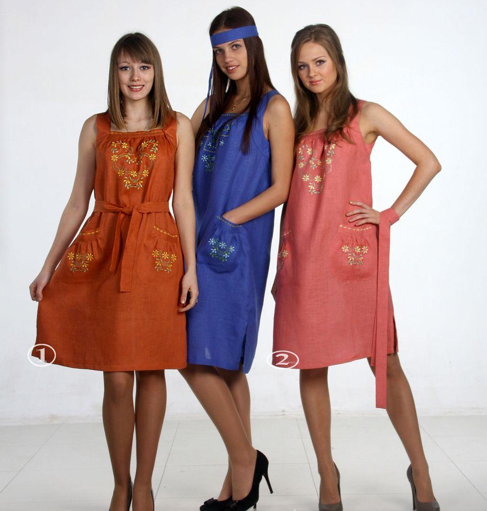 Льняной сарафан с вышивкой модель ЭсмеральдаСарафаны<br>Изящная вышивка украшает вырез и карманы сарафана, что делает модель неповторимой.<br>46 разм.- длина 91см<br>48 разм.- длина 97 см<br>50 разм.- длина 100см<br>52 разм.-длина 106 см  Размер: 44<br><br>Принадлежность: Женская одежда<br>Основной материал: Лен<br>Вид товара: Одежда<br>Материал: Лен<br>Длина изделия: 48 размер - 97 см.<br>Длина: 18<br>Ширина: 12<br>Высота: 7<br>Размер RU: 44