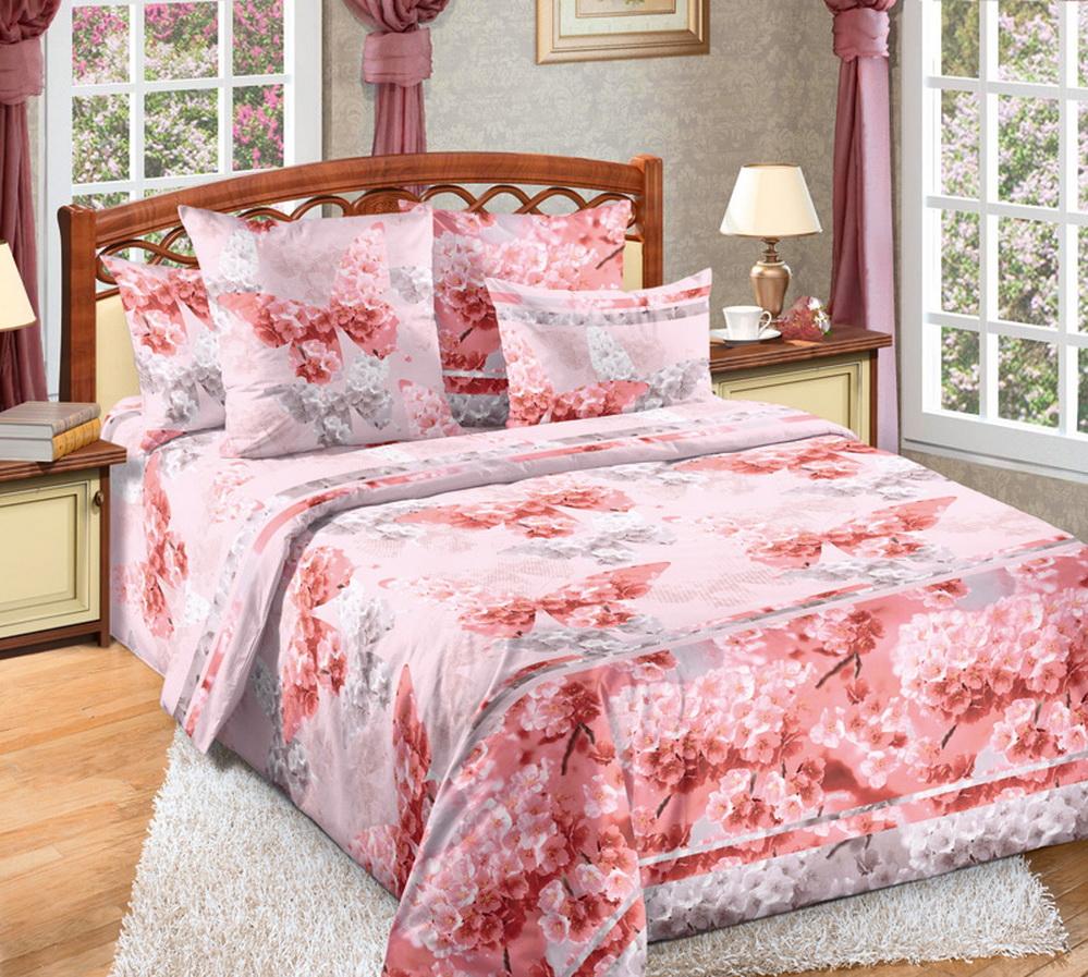 """Постельное белье """"Сон"""" розовый (перкаль) (2 спальный с Евро простынёй) от Grandstock"""