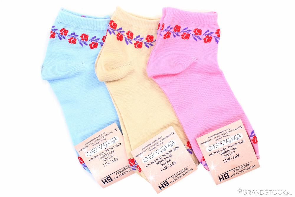 """Носки женские """"Цветы"""" (упаковка 12 штук) 37-41"""