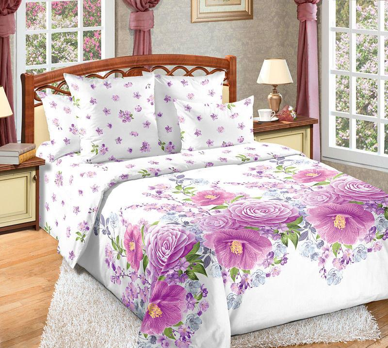 Купить Постельное белье Камелия фиолетовый (перкаль)