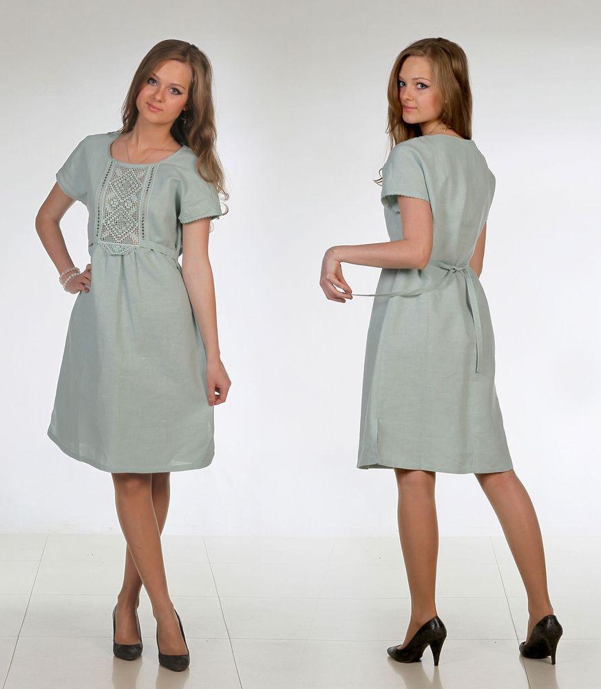 Купить Льняное платье с ручной вышивкой Корнелия
