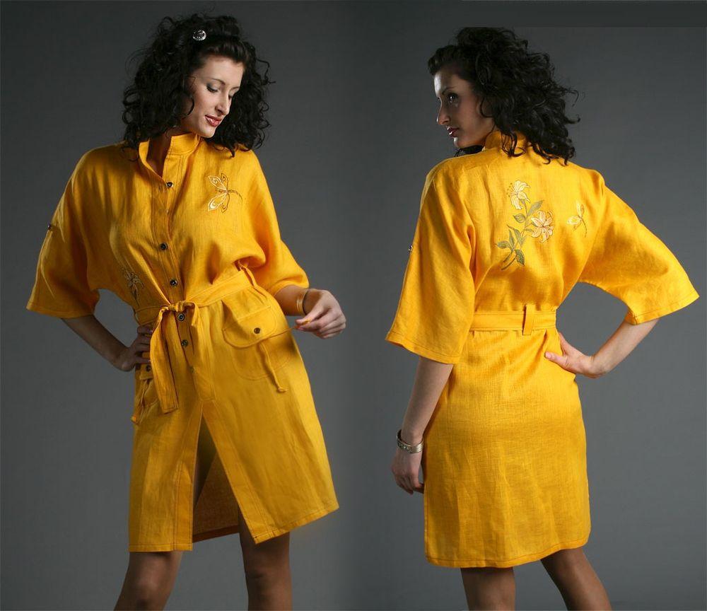 Купить Платье льняное с вышивкой Мэри (большемерка)