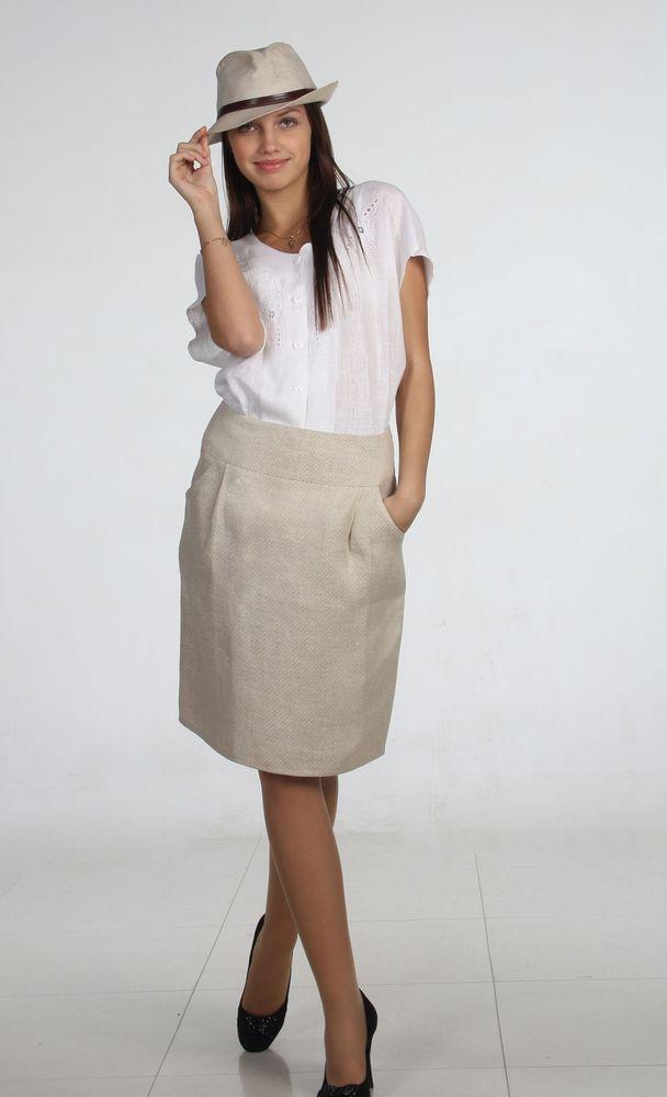 Купить Льняная юбка Элис (большемерка)