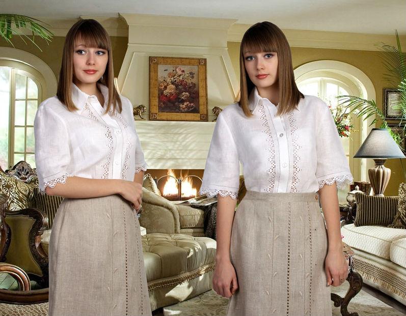Купить Блузка льняная Азабель (большемерка)