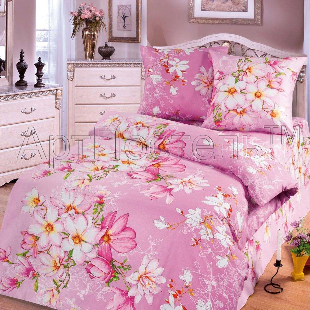 """Постельное белье """"Магнолии розовые"""" (бязь) 1,5 спальный"""