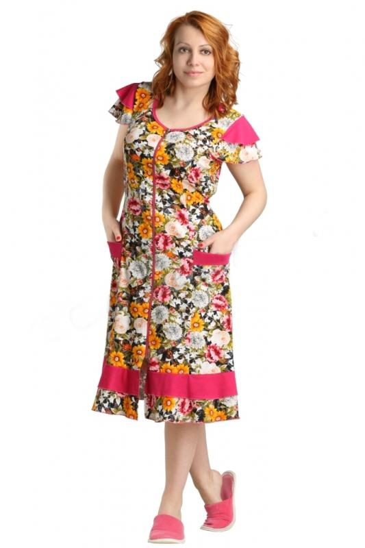 Халат женский РозелЛегкие халаты<br>Ничто не делает одежду такой нежной и женственной, как цветочный принт, будь то домашний наряд или праздничный. И проверить это вы можете на примере женского халата Розел!<br>Однако в нем вы оцените не только использование цветочного принта в дизайне, но и сочную цветовую гамму, в которой этот принт и выполнен. Более того, стоит отметить то, что расцветка обладает высокой стойкостью, а потому ее насыщенность сохранится на долгое время после покупки: не повлияет на нее ни долгая носка, ни частые стирки. Выполнена модель из кулирки &amp;amp;mdash; хлопчатобумажного полотна, обеспечивающего комфорт, гипоаллергенность и уют.<br>Также халат Розел имеет элегантный фасон с выделенной линией талии, расклешенной юбкой длиной до колен и озорными рукавами-крылышками. В таком халате вы будете неотразимы! Размер: 56<br><br>Принадлежность: Женская одежда<br>Основной материал: Кулирка<br>Страна - производитель ткани: Россия, г. Иваново<br>Вид товара: Одежда<br>Материал: Кулирка<br>Сезон: Лето<br>Тип застежки: Молния<br>Состав: 100% хлопок<br>Длина рукава: Короткий<br>Длина: 19<br>Ширина: 14<br>Высота: 4<br>Размер RU: 56
