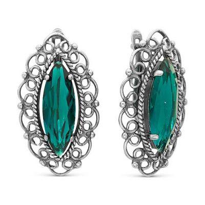 Серьги бижутерия 3362699ИзС камнями<br>Вставка  Хрустальное стекло<br>Покрытие  Серебрение с оксидированием<br><br>Высота: 2