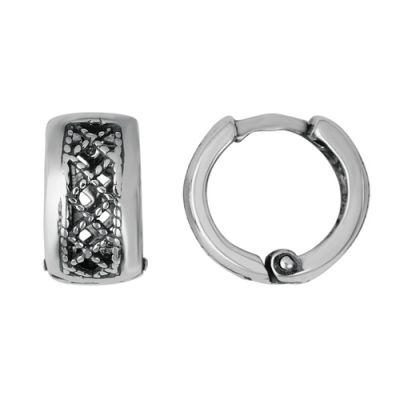 Серьги бижутерия 3402151Без камней<br>Артикул  3402151<br>Покрытие  Серебрение с оксидированием<br><br>Высота: 2