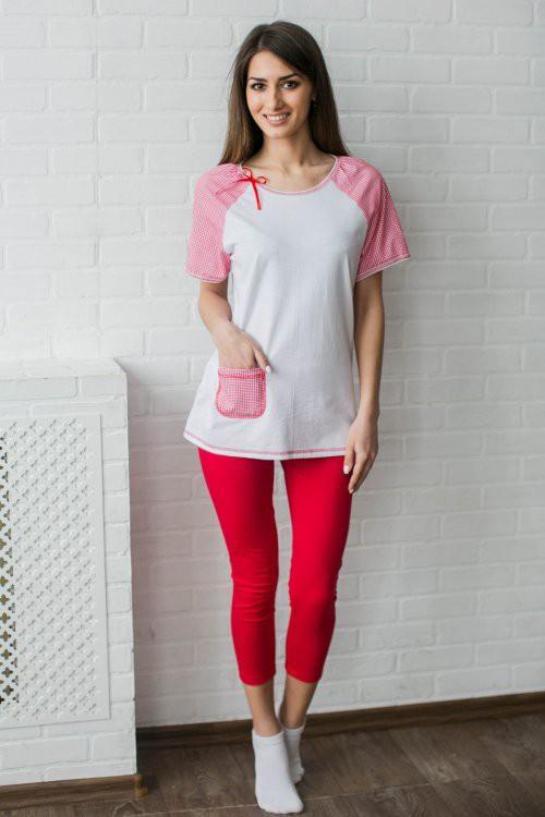 Костюм женский Весна (футболка, бриджи)Летние костюмы<br>С чем у вас ассоциируется весна? У нас она ассоциируется с яркими цветами, как красный и розовый, например. И именно поэтому яркую модель, которую вы видите сейчас, мы и назвали в честь этого прекрасного времени года!  Женский костюм Весна включает в себя два изделия: футболку полуприталенного силуэта и с короткими рукавами и удлиненные бриджи прилегающей формы. Футболка имеет чисто-белый цвет, за исключением рукавов и нагрудного кармашка - они выполнены из набивной ткани с бело-розовым узором; а бриджи костюма имеют однотонную ярко-красную расцветку.   При своих контрастных расцветках изделия гармонично сочетаются друг с другом. Более того, вам понравится еще и то, что они надолго сохраняют свой первоначальный внешний вид благодаря своей устойчивости перед стирками.   Размер: 44<br><br>Высота: 7<br>Размер RU: 44
