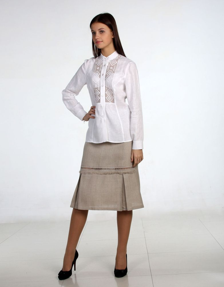 Льняная юбка с вышивкой ЭлизабетЮбки<br>Размер: 48<br><br>Высота: 7<br>Размер RU: 48