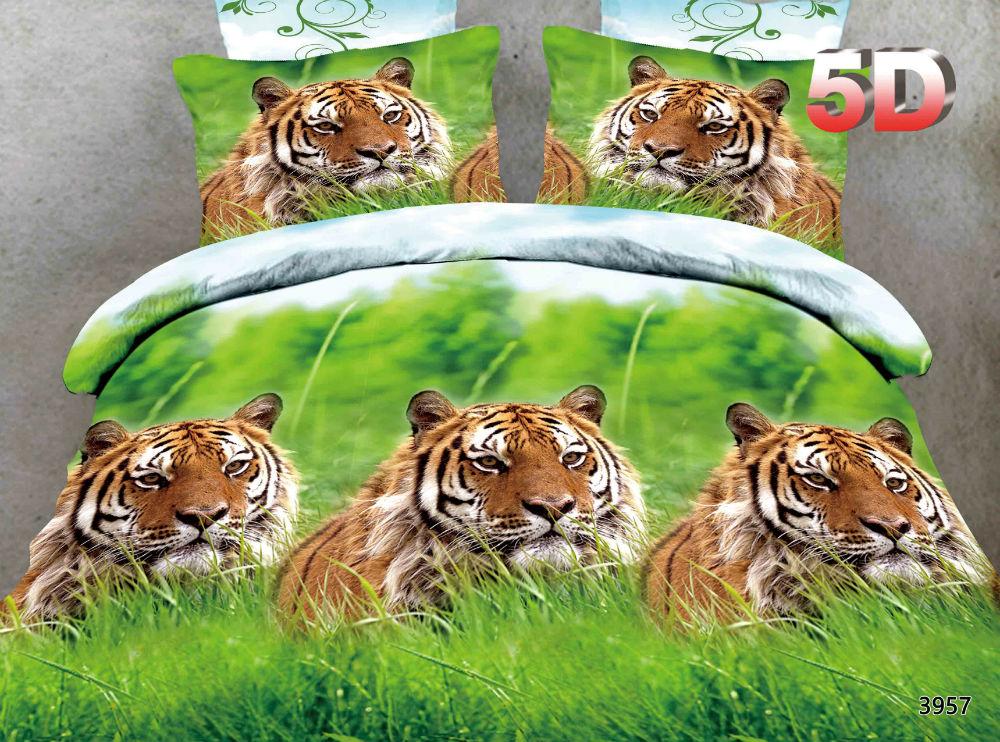 """Постельное белье """"Тигр"""" 5D (полисатин) 1,5 спальный"""