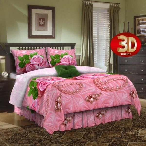 """Постельное белье """"Розы в жемчуге 3D"""" (бязь) 2 спальный с Евро простынёй"""