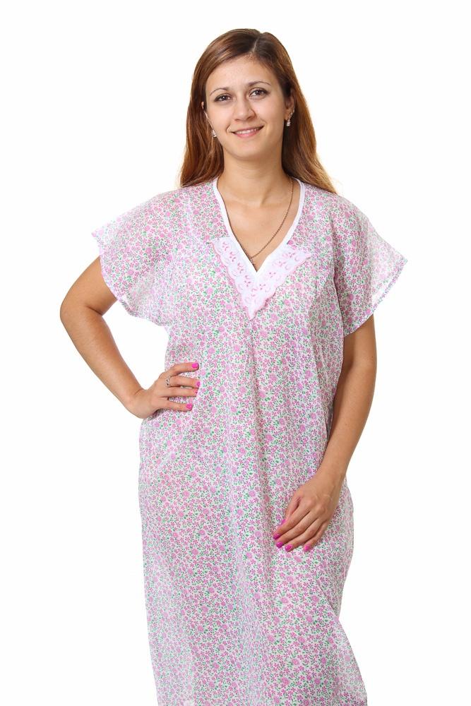 Ночная сорочка ИпомеяСорочки и ночные рубашки<br>Сложно недооценить значение здорового сна в повседневной жизни. Однако его качество складывается из множества мелочей, включая выбор ночной одежды.<br>Если Вы предпочитаете легкость, невесомость и комфорт - обратите внимание на ночную сорочку Ипомея. Стопроцентный хлопок абсолютно экологичен. Он не вызывает аллергии, раздражения и других проблем. Ненавязчивая расцветка аккуратна и женственна. При этом ткань не будет пачкаться и линять.<br>Ситцевая ночная сорочка Ипомея сочетает в себе удобство, неприхотливость и невысокую цену. Достаточно подобрать подходящий размер и отметить его в соответствующей форме. Размер: 46<br><br>Принадлежность: Женская одежда<br>Основной материал: Ситец<br>Вид товара: Одежда<br>Материал: Ситец<br>Длина по спинке : 62 размер - 109 см<br>Состав: 100% хлопок<br>Длина: 18<br>Ширина: 12<br>Высота: 7<br>Размер RU: 46