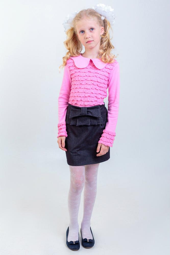Блузка детская Анжелика (длинный рукав)Блузки<br>Состав: интерлок-хлопок 97% + эластан 3%, руфл-ПЭ 95%+эластан 5% Размер: 38<br><br>Высота: 2<br>Размер RU: 38