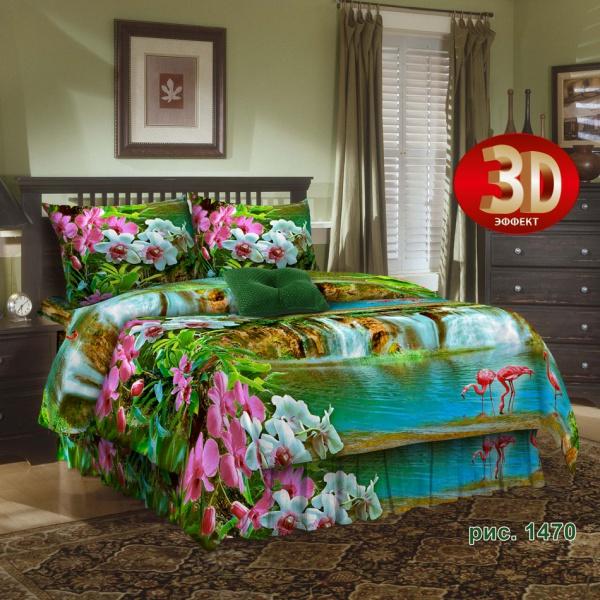 """Постельное белье """"Водопады фламинго"""" 3D (бязь) 1,5 спальный"""