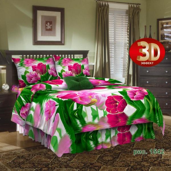 """Постельное белье """"Тюльпаны"""" 3D (бязь) 1,5 спальный"""