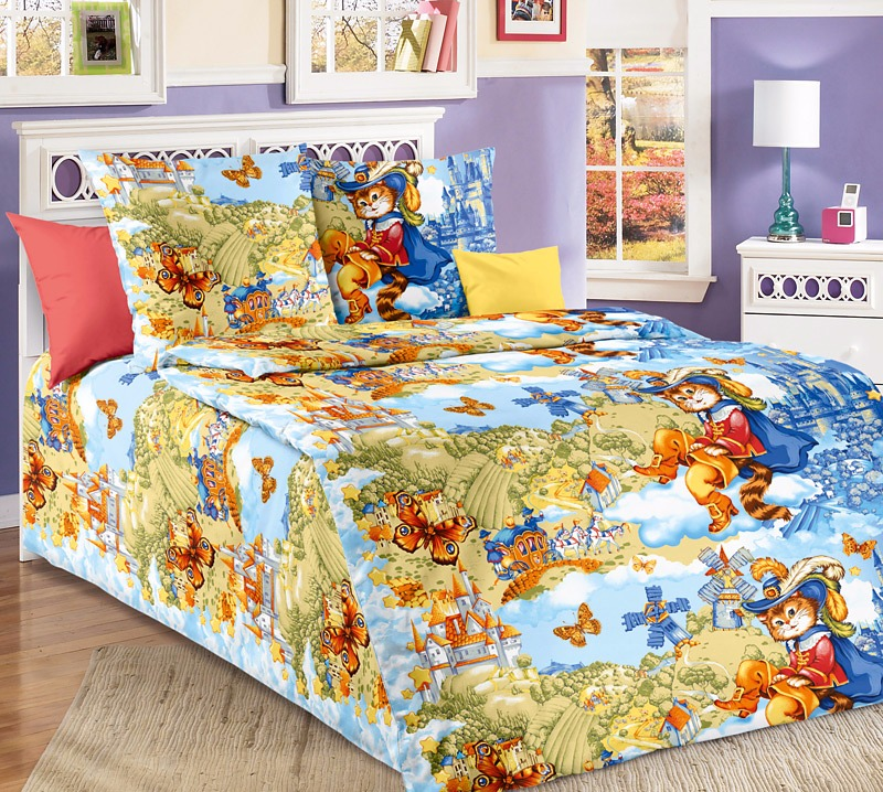 Постельное белье Кот в сапогах (бязь) 1,5 спальныйДетские КПБ<br>Размер: 1,5 спальный<br><br>Высота: 8<br>Размер RU: 1,5 спальный
