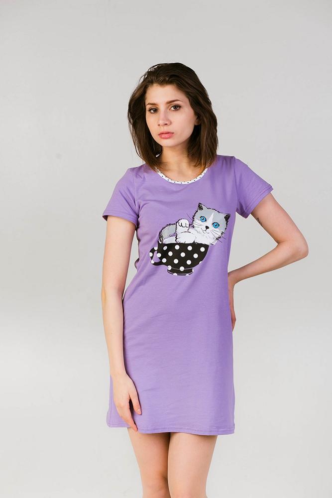 Ночная сорочка Котенок-2Сорочки и ночные рубашки<br>Размер: 48<br><br>Принадлежность: Женская одежда<br>Основной материал: Пинье<br>Страна - производитель ткани: Россия, г. Иваново<br>Вид товара: Одежда<br>Материал: Пинье<br>Длина рукава: Короткий<br>Длина: 18<br>Ширина: 12<br>Высота: 7<br>Размер RU: 48