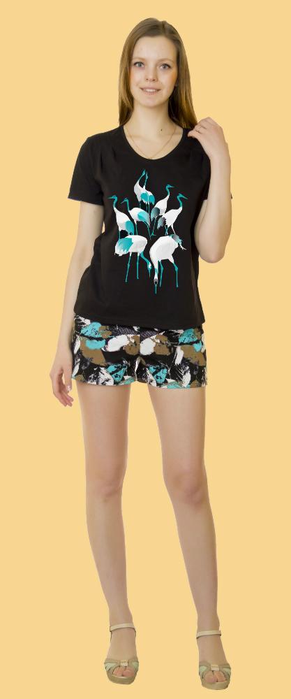 Костюм женский АгнессаЛетние костюмы<br>Если сегодня мир требует от женщины быть сильной, то хотя бы дома вечером позвольте себе побыть немногослабее, нежнее и милее. А в этом вам, как никто другой, поможет женский костюм Агнесса.<br>Данный комплект состоит из приталенной футболки с короктим рукавом и коротких обтягивающих шортиков. Футболка выполнена в однотонной расцветке, шортики украшены сплошным узором. Кроме того, дизайн футболки дополняется стильынм принтом в цвет шорт.<br>Женский комлпект Агнесса понравится вам не только из-за своего симпатичного дизайна и фасона, но и из-за натурального состава: он сшит из натуральной хлопковой ткани &amp;amp;mdash; кулирки, которая идеально подходит для домашней одежды.<br> Размер: 54<br><br>Принадлежность: Женская одежда<br>Комплектация: Шорты, футболка<br>Основной материал: Кулирка<br>Страна - производитель ткани: Россия, г. Иваново<br>Вид товара: Одежда<br>Материал: Кулирка<br>Сезон: Лето<br>Тип застежки: Без застежки<br>Длина рукава: Короткий<br>Длина: 19<br>Ширина: 16<br>Высота: 6<br>Размер RU: 54