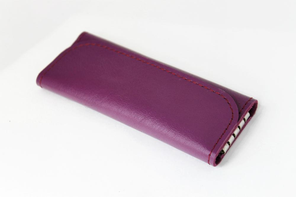 Ключница кожаная Леди 4 ключа (фиолетовая)Ключницы<br><br><br>Высота: 2